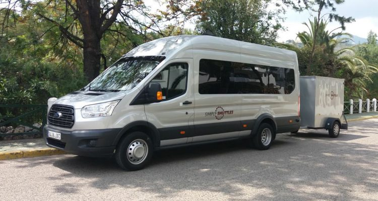Simply Shuttles minibus and luggage trailer