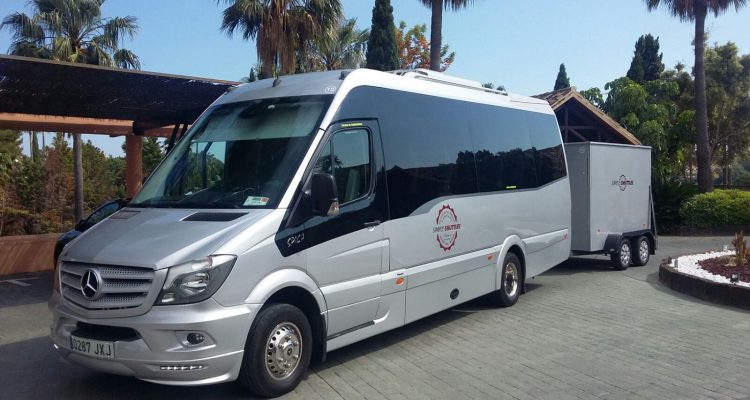 Mercedes Minibus with luggage trailer